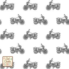 """Vintage Motorcycle on White Cotton Jersey Blend Knit Fabric - A Girl Charlee Exclusive!! A vintage style motorcycle outline in a black hand drawn design on our signature white poly cotton blend knit. Fabric is very soft, light to mid weight, and has a nice stretch and drape. Motor bike measure 1 3/4"""" wide. A versatile, fun fabric that is great for many applications. Made in Los Angeles! :: $6.60"""