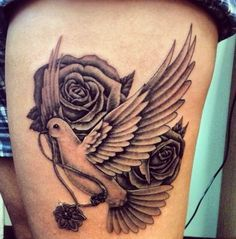 Dove and rose tattoo