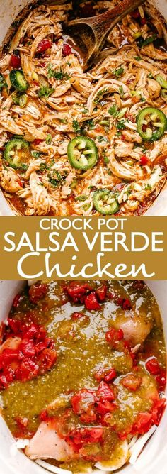 Easy Crock Pot Salsa Verde Chicken Loaded With Salsa Verde Green Sauce And Delicious Chopped Tomatoes, This Healthy Crock Pot Chicken Is Incredibly Flavorful And Extremely Easy To Make. Simply Place It All In The Crock Pot And Walk Away. Healthy Crock Pots, Crockpot Chicken Healthy, Healthy Chicken Recipes, Easy Dinner Recipes, Healthy Dinner Recipes, Chicken Crock Pot Meals, Best Crock Pot Chicken Recipe, Healthy Crockpot Chicken Recipes, Easy Crock Pot Meals
