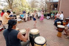 part of the drum circle in Constitution Hall - Big Spring Park, Huntsville.... just add dancers & hoopers ;)