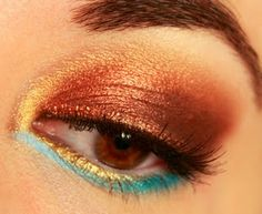 Gold and bronze with a touch of teal/blue Metallic Eyeshadow, Eyeshadow Looks, Look Into My Eyes, Gold Party, Submission, Teal Blue, Drawer, Makeup Looks, Bronze