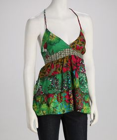 Take a look at this Funky People Green & Pink Butterfly Patchwork Camisole by Funky People on #zulily today!