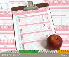 Diet Tracker & Fitness Planner - Printable Templates including Weight Loss Tracker, Diet Meal Planner, Workout Chart and more.