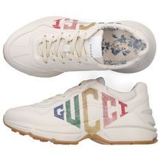 Gucci Women's Rhyton Glitter Logo Leather Sneakers In 9022 Ivoire Low Top Sneakers, Chunky Sneakers, Gucci Shoes Sneakers, Leather Sneakers, Sneakers Women, Shoes Women, Sneaker Quotes, Puma Sneaker, Loafer Slippers
