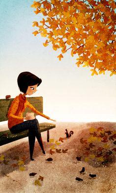 fall friends #autumn #squirrel #fallcolors #orange #illustration