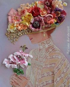 Wonderful Ribbon Embroidery Flowers by Hand Ideas. Enchanting Ribbon Embroidery Flowers by Hand Ideas. Rose Embroidery, Silk Ribbon Embroidery, Embroidery Stitches, Embroidery Patterns, Band Kunst, Diy And Crafts, Arts And Crafts, Ribbon Art, Creative Artwork