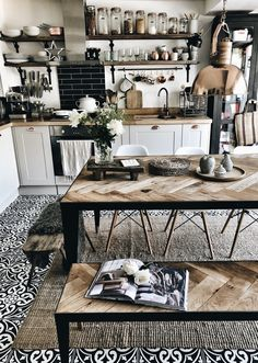 Hygge Kitchen with scaffold board shelves, herringbone wood and steel dining tab. - Hygge Kitchen with scaffold board shelves, herringbone wood and steel dining table and bench, monoc - Boho Kitchen, Home Decor Kitchen, Kitchen Interior, Home Kitchens, Kitchen Ideas, Kitchen Rustic, Kitchen Dining, Rustic Farmhouse, Rustic Industrial Kitchens