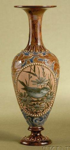 Doulton; Lambeth, Vase, Birds on Branches, Jeweled Borders, 11 inch.