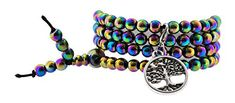 Unisex Yoga Rainbow Simulated 108 Hematite Tibetan Prayer Beads Mala Wrap Bracelet Necklace Silver Tone Tree of Life >>> Find out more about the great product at the image link.