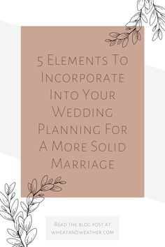 As a wedding planner, I often see couples that fail to capitalize on the planning process as an opportunity to set the tone for their entire marriage. That is why I have put together this list of five elements to incorporate into your wedding planning for a more solid marriage. This list will show you what I believe can set you and your partner up for a lasting relationship! #weddingplanning #marriage #couplegoals #relationshipsadvice Wedding Planning Tips, Wedding Planner, Plan Your Wedding, Wedding Day, Fifth Element, Happy Marriage, Get Excited, Thoughts And Feelings, Relationship Advice