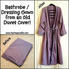 Bathrobe / Dressing Gown from a duvet cover - Mini Tutorial - Karima's Craft. Bathrobe / Dressing Gown from a duvet cover – Mini Tutorial – Karima's Crafts Free Printable Sewing Patterns, Easy Sewing Patterns, Vintage Sewing Patterns, Clothing Patterns, Free Sewing, Fabric Patterns, Vogue Patterns, Sewing Clothes, Diy Clothes
