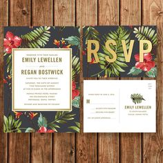 Destination Wedding Invitation, Beach, Tropical, Coral, Green, Floral, Vintage, Bohemian, Save the Date, Bridal Shower, Postcard, Printable by BettyLuPaperie on Etsy https://www.etsy.com/listing/246200829/destination-wedding-invitation-beach
