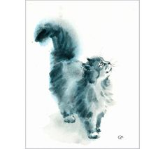 Gray Cat  Original Watercolor Painting 8.5 x 11 inches Pets