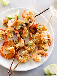 Quick Chile Lime Shrimp Skewers by forkknifeswoon: Great as an appetizer or paired with a salad or grain for a meal. #Shrimp #Chile #Lime