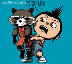 Fluffy Lil Guardian T-Shirt $15 Rocket Raccoon tee at TeeFury!