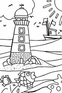 Free Lighthouse coloring pages to print for kids. Download, print and color!