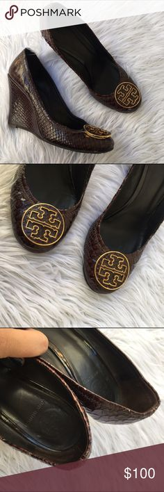 TORY BURCH REVA WEDGE SZ 8.5 SHOES HEELS SNAKESKIN 100% authentic :) Tory Burch Shoes