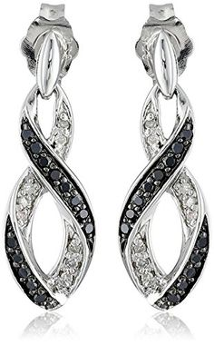 Sterling Silver Ribbon Black And White Diamond Earrings 1 5 Cttw I J Color I2