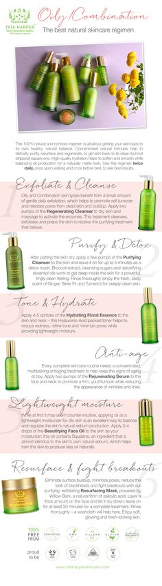 Tata Harper's 100% natural and nontoxic complete skincare regimen for Oily / Combination skin types.