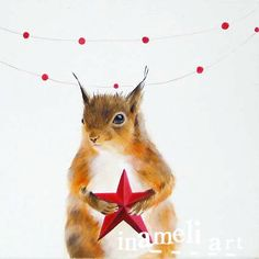 Whimsical+squirrel+art+woodland+animal+nursery+decor+by+inameliart,+$17.00