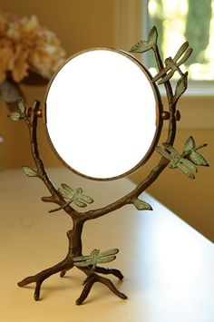 Branch and dragonfly table mirror for MOM