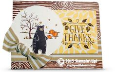 NEWS: Happy 2015 Stampin Up Holiday Catalog Pre-Order Day! Stampin up Happy Scenes stamp set and Thankful Forest Friends stamp set. Into the Woods designer series paper. fall cards