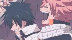 Natsu and Gray laughing