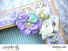 Love the floral and fussy cut details on Nadya's fabric Sweet Sentiments hearts in a box #Graphic45