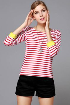 Red White Round Neck Horizontal Stripe T-shirt #Red #T-shirt #maykool