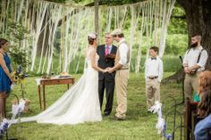 Southern Vintage antique maple side table at this beautiful rustic wedding at Morgan View Farm