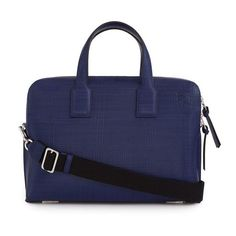 LOEWE Goya Thin Briefcase Navy Blue ($1,550) ❤ liked on Polyvore featuring bags, briefcases, luggage & travel and navy