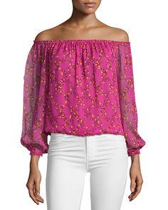 DVF: Beautiful pink floral silk off shoulder long sleeve blouse.