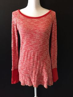 FREE PEOPLE Waffle Knit Thermal Top Low/Open Back Size Medium #FreePeople #KnitTop #Casual