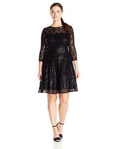 S.L. Fashions Women s Plus-Size Long Sleeve Lace Party Dress ab91fb7f28a4