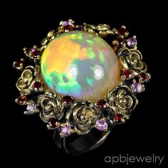 Real Top 14ct aaa+  Natural Opal 925 Sterling Silver Ring Size 8.25/R36308 #APBJewelry #Ring