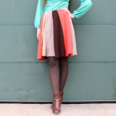 Autumn Leaves- upcycled cashmere and wool swing skirt- $34