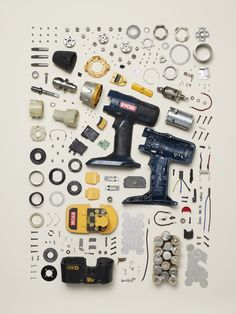 Power Drill — Component Count: 216 14 Pieces Of Dissected Technology That Will Blow Your Mind Informations Design, Creative Inspiration, Design Inspiration, Satisfying Pictures, Oddly Satisfying, Things Organized Neatly, Exploded View, Collections Photography, Mechanical Design