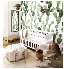 Here's some Tuesday morning nursery inspo   So many things to love in this super cool space - including that Moroccan Wedding Pouf which sounds a bit very special! And I need that Chest!  Nursery created by the very talented @allielindseyphotography for her babe Max. Regram via @sesandjen via @wildflowerstudio & that wallpaper  is by @anewalldecor  by mooseinthemoon