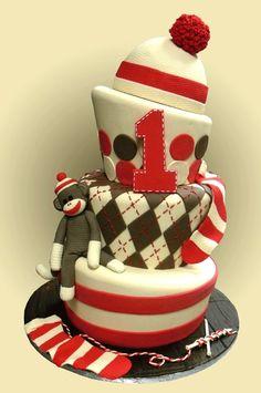 Sock Monkey  first birthday cake
