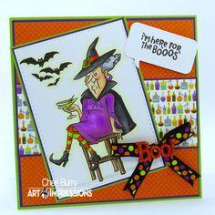 Art Impressions Old Bat Stamp set.  SU Old Olive, Elegant Eggplant & Whisper White cardstock.  Doodlebug Boos & Brews dsp.  Copics - Skin: E00, E11, E21, R20 Hair: C1, C3, C5 Dress: V04, V05, V06 Hat & cape: N5, N7, N9 Chair: E43, E44, E47 Greens: YG23, YG25 Oranges: YR04, YR07 Outline: YG0000. Simon Says Talk Bubbles die, ribbon & boo button.