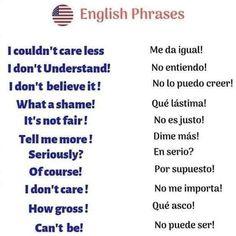Teach Me Spanish, Study Spanish, Spanish Words, English Study, English Reading, English Phrases, Learn English Words, Learn English For Free, Learn English Grammar