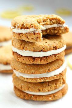 Lemon Coconut Cream Sandwich Cookies - gluten free, grain free, dairy free and…