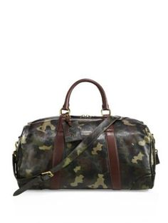 POLO RALPH LAUREN Camo Leather Duffel Bag. #poloralphlauren #bags #shoulder bags #hand bags #travel bags #leather #weekend #
