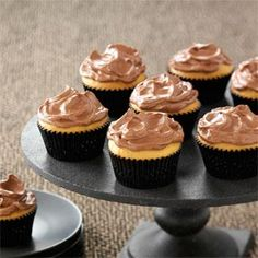 Chocolate Frosted Peanut Butter Cupcakes Recipe from Taste of Home -- shared by Alisa Christensen of Rancho Santa Margarita, California