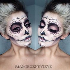 Day of the dead sugar skull makeup -- did this last Halloween! Such an awesome design, very easy too. =)