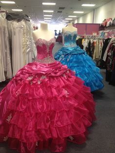 Quinceañera dress pink and turquoise...