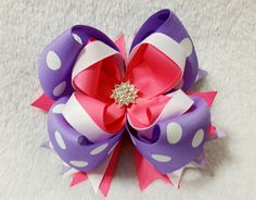 Boutique Stacked Loopy Hair Bow - Spring Orchid, Specialty Hair Bow, Polka Dot Hair Bow