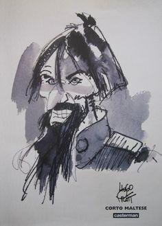 "Pratt, Hugo - poster Corto Maltese ""Rasputin"" - W. Comic Book Artists, Comic Artist, Gouache Painting, Watercolor Paintings, Watercolour, Maltese, Hugo Pratt, Serpieri, Book Creator"