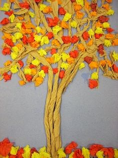 3D Fall / Autumn Bulletin Board Idea - Great for Pre-K Complete Preschool Curriculum's Fall theme. Repinned by Pre-K Complete - follow us on our blog, FB, Twitter, and Google Plus!