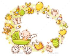 Oval frame with cartoon baby in a baby carriage and lots of baby things
